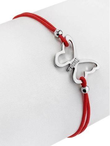 Браслет-красная нить с серебряной вставкой в виде бабочки, фото , изображение 3