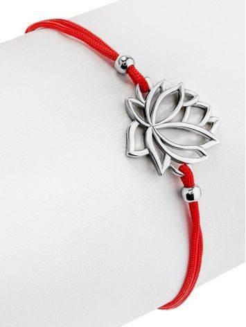 Браслет на красной нити с серебряной подвеской в виде лотоса, Длина: 16, фото , изображение 3
