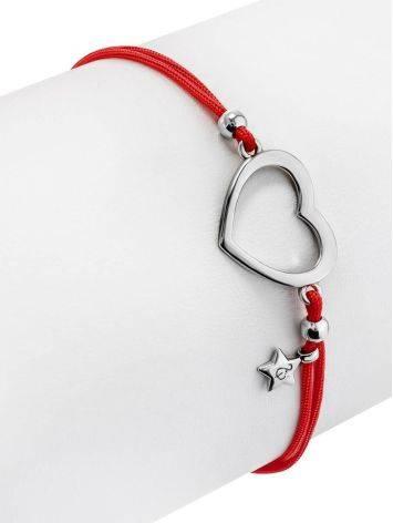 Милый браслет на красной нити с серебряным сердечком , фото , изображение 3