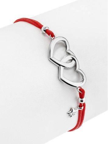 Нежный браслет-красная нить с двумя серебряными сердечками, фото , изображение 3