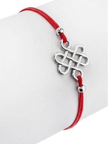 Браслет-красная нить с ажурной вставкой из серебра, фото , изображение 3