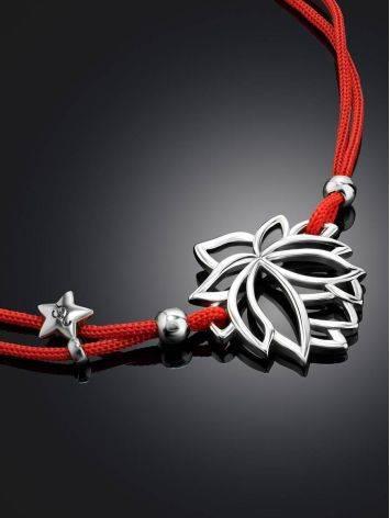 Браслет на красной нити с серебряной подвеской в виде лотоса, Длина: 16, фото , изображение 2