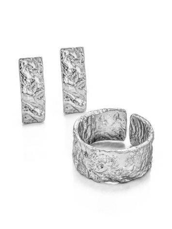 Широкое стильное кольцо из серебра с необычной фактурой Liquid, Размер кольца: б/р, фото , изображение 4