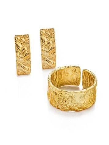 Широкое стильное кольцо из позолоченного серебра с необычной фактурой Liquid, Размер кольца: б/р, фото , изображение 4