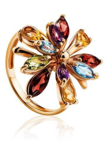Яркое коктейльное золотое кольцо с разноцветными самоцветами, Размер кольца: 17, фото