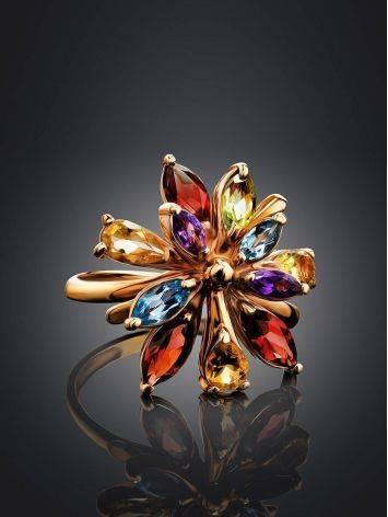 Яркое коктейльное золотое кольцо с разноцветными самоцветами, Размер кольца: 17, фото , изображение 2
