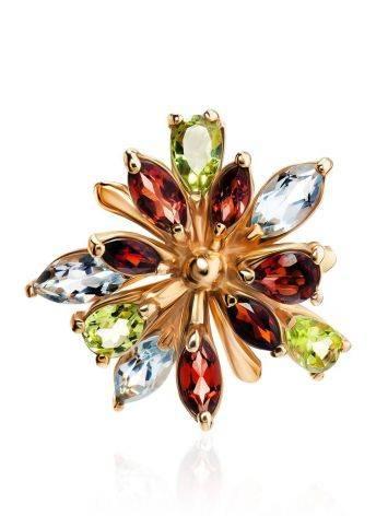 Яркое коктейльное золотое кольцо с разноцветными самоцветами, Размер кольца: 17, фото , изображение 3