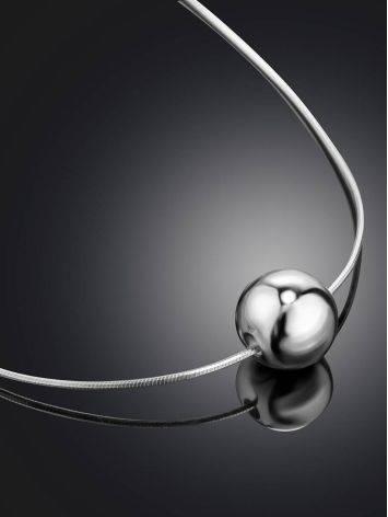 Стильное серебряное колье в лаконичном дизайне Liquid, фото , изображение 2
