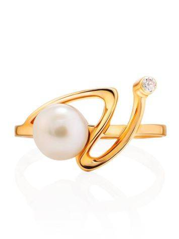 Элегантное золотое кольцо с жемчужиной и фианитом, Размер кольца: 17.5, фото , изображение 3