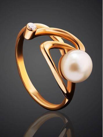 Элегантное золотое кольцо с жемчужиной и фианитом, Размер кольца: 17.5, фото , изображение 2