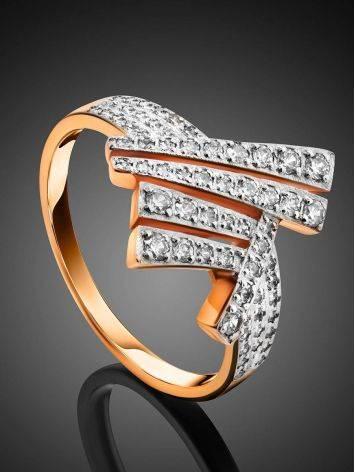 Необычное золотое кольцо с россыпью кристаллов, Размер кольца: 19.5, фото , изображение 2