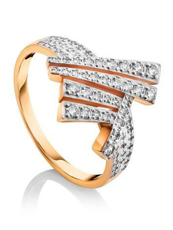 Необычное золотое кольцо с россыпью кристаллов, Размер кольца: 19.5, фото