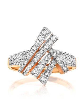 Необычное золотое кольцо с россыпью кристаллов, Размер кольца: 19.5, фото , изображение 3
