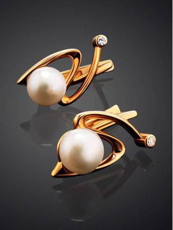 Женственные золотые серьги с жемчугом, фото , изображение 2