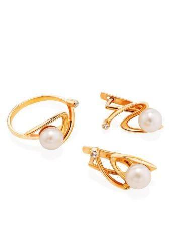 Элегантное золотое кольцо с жемчужиной и фианитом, Размер кольца: 17.5, фото , изображение 4
