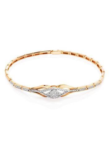 Шикарный золотой браслет с россыпью бриллиантов, фото