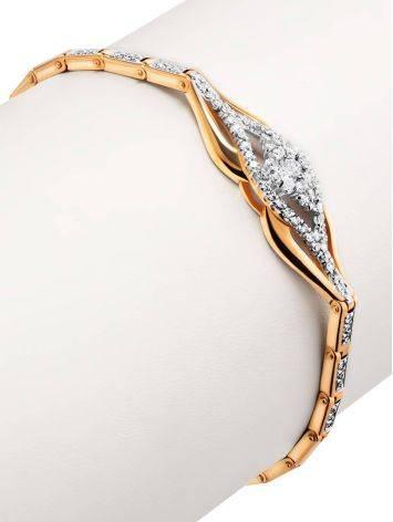 Шикарный золотой браслет с россыпью бриллиантов, фото , изображение 3