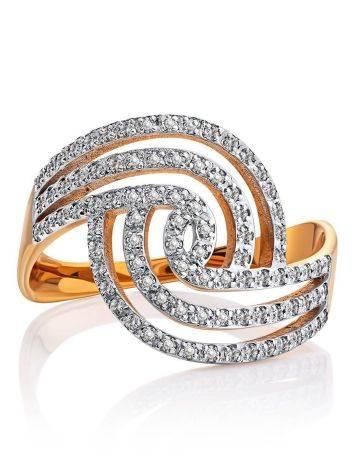 Эффектное золотое кольцо с кристаллами, Размер кольца: 20, фото , изображение 3