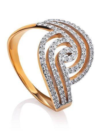 Эффектное золотое кольцо с кристаллами, Размер кольца: 20, фото