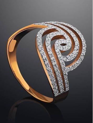 Эффектное золотое кольцо с кристаллами, Размер кольца: 20, фото , изображение 2