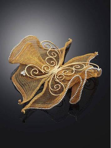 Дизайнерская золотая брошь в виде бабочки, фото , изображение 2