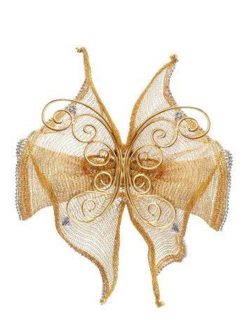 Дизайнерская золотая брошь в виде бабочки, фото