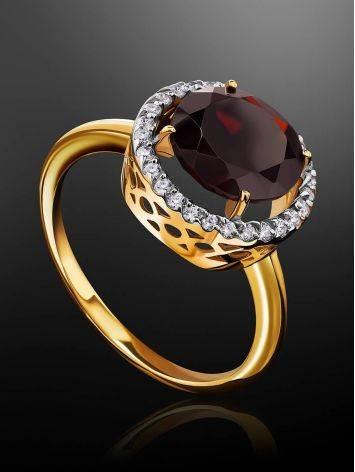 Яркое позолоченное кольцо с гранатом и кристаллами, Размер кольца: 16.5, фото , изображение 2