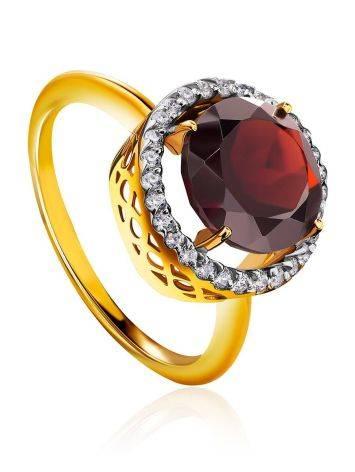 Яркое позолоченное кольцо с гранатом и кристаллами, Размер кольца: 16.5, фото