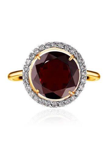 Яркое позолоченное кольцо с гранатом и кристаллами, Размер кольца: 16.5, фото , изображение 3