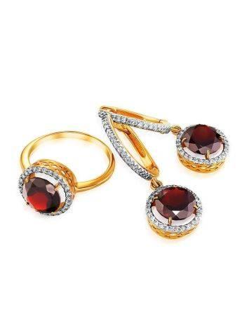 Яркое позолоченное кольцо с гранатом и кристаллами, Размер кольца: 16.5, фото , изображение 4