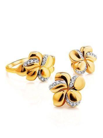 Нежные позолоченные серьги в цветочном дизайне, фото , изображение 3