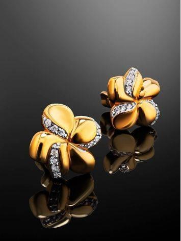 Нежные позолоченные серьги в цветочном дизайне, фото , изображение 2