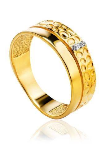 Широкое позолоченное кольцо с кристаллами, Размер кольца: 16.5, фото