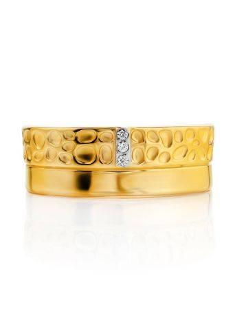 Широкое позолоченное кольцо с кристаллами, Размер кольца: 16.5, фото , изображение 3