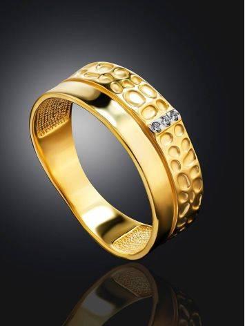 Широкое позолоченное кольцо с кристаллами, Размер кольца: 16.5, фото , изображение 2