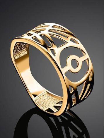 Нарядное широкое кольцо из позолоченного серебра, Размер кольца: 17, фото , изображение 2