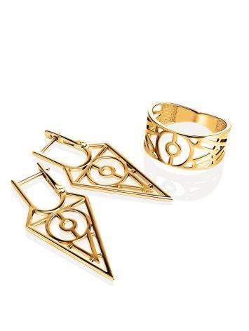 Нарядное широкое кольцо из позолоченного серебра, Размер кольца: 17, фото , изображение 4