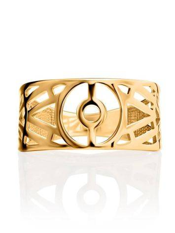 Нарядное широкое кольцо из позолоченного серебра, Размер кольца: 17, фото , изображение 3