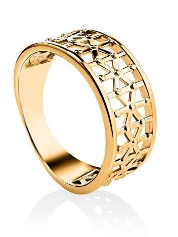 Яркое стильное кольцо из серебра в позолоте, Размер кольца: 17.5, фото