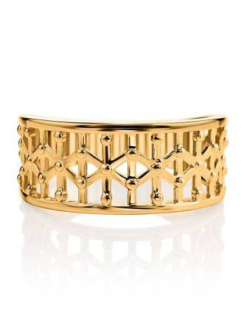 Яркое стильное кольцо из серебра в позолоте, Размер кольца: 17.5, фото , изображение 3