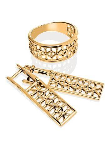 Яркое стильное кольцо из серебра в позолоте, Размер кольца: 17.5, фото , изображение 4