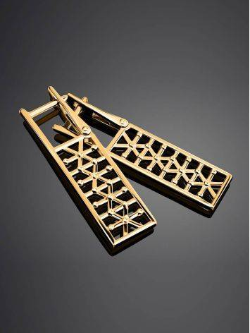 Невероятно стильные позолоченные серьги, фото , изображение 2