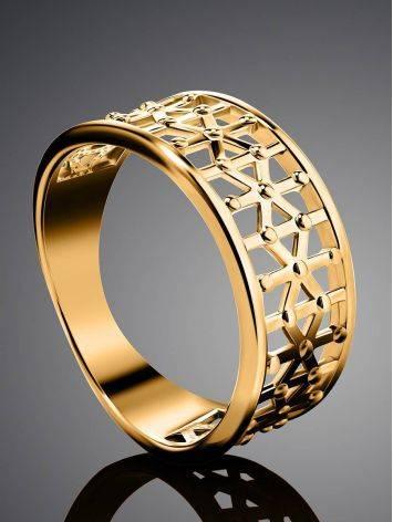 Яркое стильное кольцо из серебра в позолоте, Размер кольца: 17.5, фото , изображение 2
