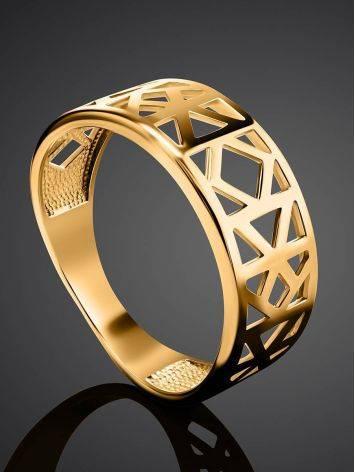 Стильное широкое позолоченное кольцо, Размер кольца: 17, фото , изображение 2
