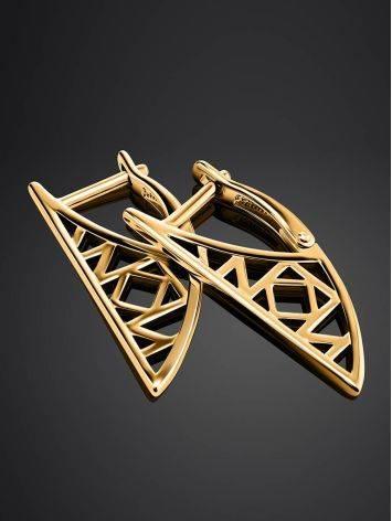 Необычные геометричные позолоченные серьги, фото , изображение 2