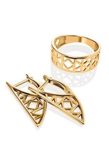 Стильное широкое позолоченное кольцо, Размер кольца: 17, фото , изображение 4