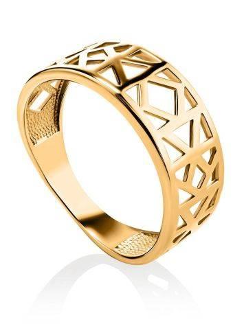 Стильное широкое позолоченное кольцо, Размер кольца: 17, фото