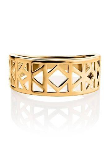 Стильное широкое позолоченное кольцо, Размер кольца: 17, фото , изображение 3