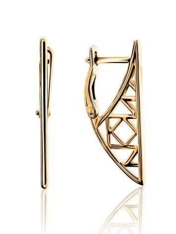 Необычные геометричные позолоченные серьги, фото