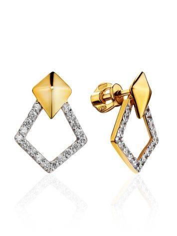 Стильные геометричные серьги с кристаллами Astro, фото
